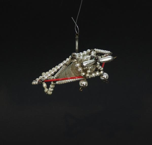 Beaded Glass Ornament,  Airplane, ~ 1930
